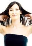 Brunette avec le long cheveu Image stock