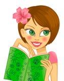 Brunette avec un livre illustration de vecteur