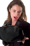 Brunette with bag Stock Photography