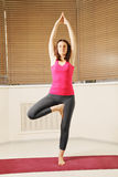 Brunette balancing on one leg yoga pose Royalty Free Stock Photography