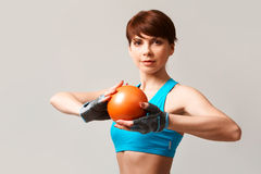 Brunette with ball Stock Image