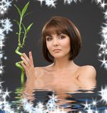 Brunette with bamboo. Picture of lovely brunette with bamboo in water Royalty Free Stock Photos