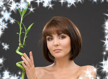Brunette with bamboo over grey Royalty Free Stock Photography