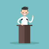 Brunette bearded man standing behind the tribune. And pointing his finger up / flat   illustration Stock Photography