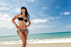 Brunette beautiful model posing on a beach Royalty Free Stock Image