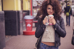 Brunette beautiful stylish caucasian woman in casual outfit on a Stock Images