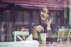 Brunette beautiful stylish caucasian woman in casual outfit on a Stock Image