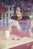 Brunette beautiful stylish caucasian woman in casual outfit stock photo
