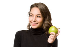 Brunette beauty with apple. Royalty Free Stock Images