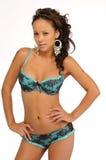 Brunette beauty in blue lingerie Stock Photo