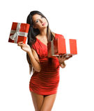 Brunette beauty with bright red gift box. Stock Images