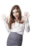 Brunette beauty businesswoman be surprised someting Stock Photo