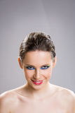 Brunette beauty in colorful makeup. Royalty Free Stock Image