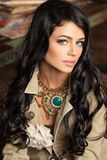 Brunette Beauty. Cute Female Model Face. Healthy Curly Hair. Makeup Stock Image