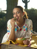 Brunette Beauty Eating Healty Royalty Free Stock Images