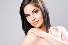 Brunette beauty in elegant makeup. Stock Photography