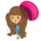 Brunette beauty.fashion girl with umbrella royalty free illustration