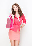 Brunette beauty goes shopping. Royalty Free Stock Photo