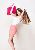 Brunette beauty goes shopping. Royalty Free Stock Image