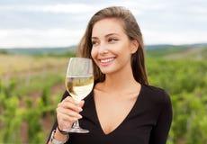 Brunette beauty having wine fun. Stock Photo
