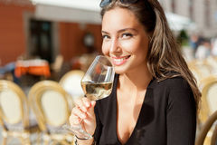 Brunette beauty having wine fun. Stock Images
