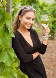 Brunette beauty having wine fun. Royalty Free Stock Images
