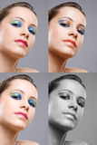 Brunette beauty makeup versions. Royalty Free Stock Photography
