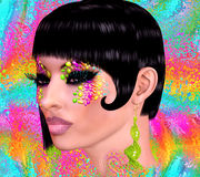 Brunette beauty,short hairstyle and fashion makeup image Stock Photo