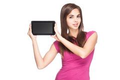 Brunette beauty with tablet. Stock Image