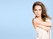 Brunette beauty on wide banner. Royalty Free Stock Photography