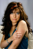 Brunette bello con gli occhi azzurri Fotografia Stock Libera da Diritti