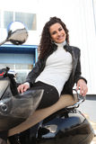 Brunette biker outdoors Royalty Free Stock Photo