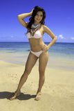 Brunette in bikini at the beach Royalty Free Stock Photo