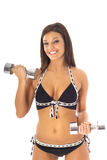 Brunette in bikini working out Stock Images