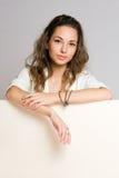 Brunette billboard beauty. Royalty Free Stock Images