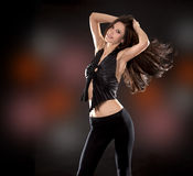 Brunette in black Stock Photo
