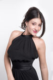 Brunette with black dress Royalty Free Stock Images