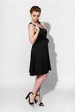 Brunette in black dress Stock Photography