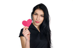 Brunette in black dress with  heart made of paper Stock Photos
