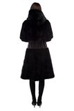 Brunette in black fur coat from back Royalty Free Stock Image