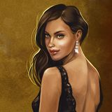 Brunette in black lace dress royalty free illustration
