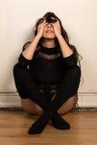 Brunette in black Stock Photo