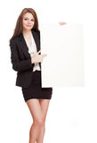 Brunette with blank banner. Stock Images