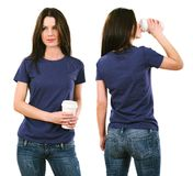 Brunette with blank purple shirt and drinking stock images