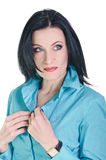 Brunette in blauw Royalty-vrije Stock Foto