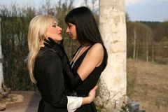 Brunette and blonde Royalty Free Stock Photo
