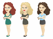 Brunette, blonde and brown hair. With a mobile phone Royalty Free Stock Photos