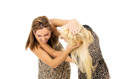 Brunette and blonde fight Stock Photos