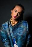 Brunette in blue Stock Photo