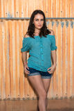 Brunette in blue. Pretty young brunette in a turquoise knit blouse royalty free stock images